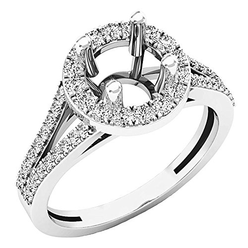 Diamond Ring Mounting - 0.45 Carat (ctw) 14K White Gold Round Diamond Bridal Semi Mount Engagement Ring 1/2 CT (Size 6.5)
