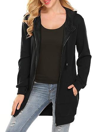 63bb4c469a7 Women s Long Zip Up Hoodies Fleece Jacket Tunic Sweatshirt with  Pockets(M