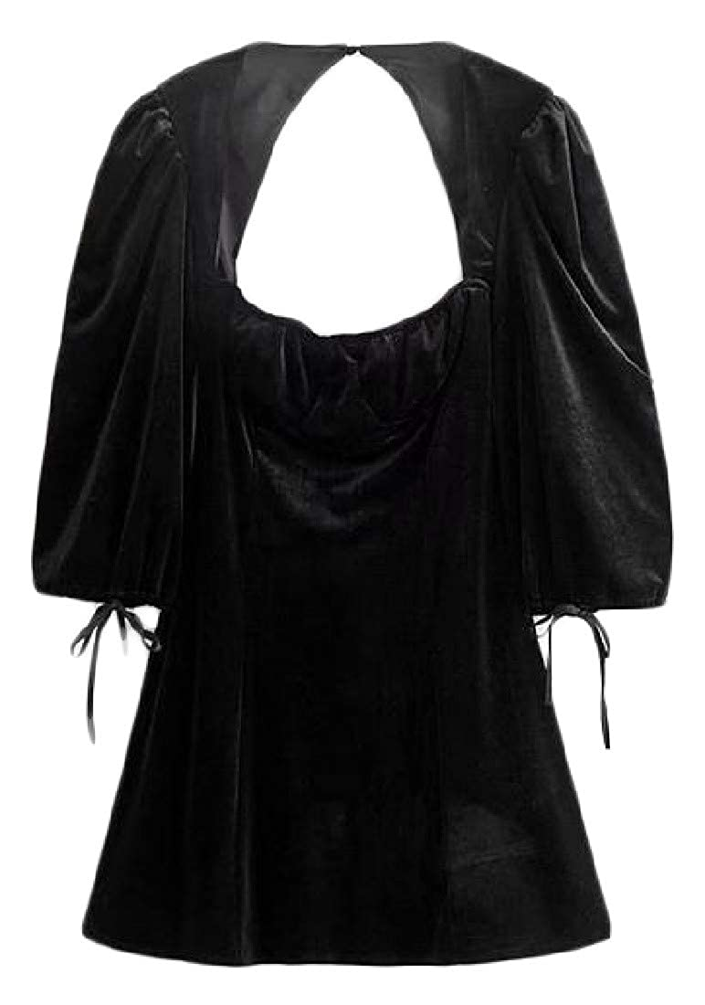 Wofupowga Womens Cut Out Casual Irregular 3//4 Sleeve Velvet Backless Top Blouse T-Shirts