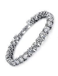 Tennis Bracelet with Swarovski Elements Crystal Jewelry Lady Valentines Gift Zirconia Platinum Plated Bangle