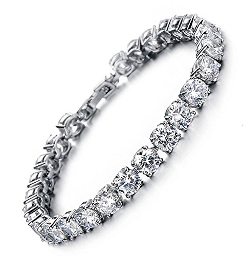 MEETYOO Tennis Bracelet with Swarovski Elements Crystal Jewelry Women Lady Zirconia Platinum Plated Bangle for her ()