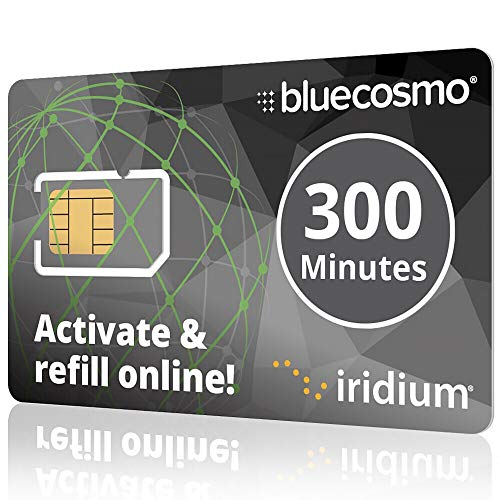BlueCosmo Iridium 300 Min Prepaid Global SIM Card - Satellite Phone Airtime - 1 Year Expiry - No Activation Fee - No Monthly Fee - No Rollover - Easy 24/7 Online Activation