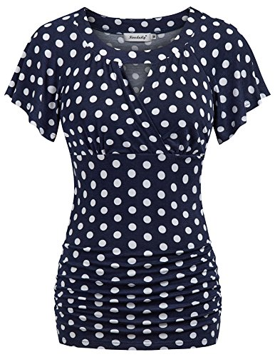 - Ninedaily Polka Dot Blouse for Women Plus Size, Surplice Wrap Tops for Women Elegent Hot Cocktail Party Casual Shirt Modern Fashion XXL Womens Dress Shirts and Blouses for Work 18 20