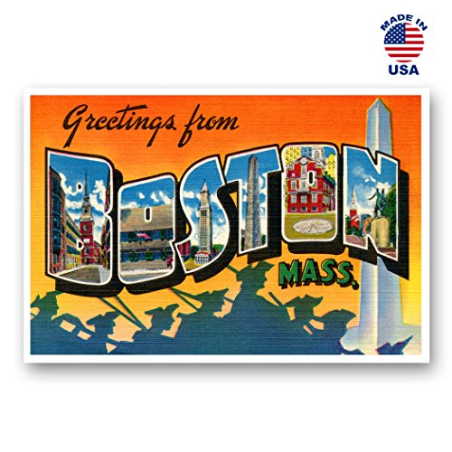 GREETINGS FROM BOSTON, MA vintage reprint postcard set of 20 identical postcards. Large letter Boston, Massachusetts city and state name post card pack (ca. 1930's-1940's). Made in USA.