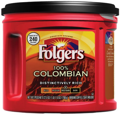 Folgers 100% Colombian Ground Coffee, Medium Dark Roast, 27.8-Ounce (Pack of 3)