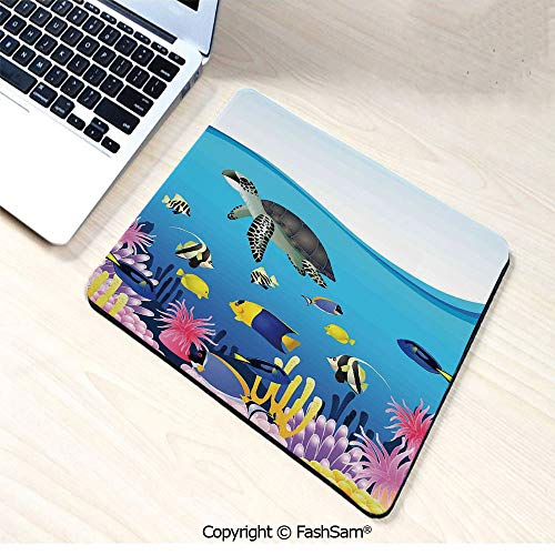 (Mouse Pads Illustration of Sea Anemone Turtles Goldfish Snorkel Tropical Seascape Cartoon for Home(W7.8xL9.45))