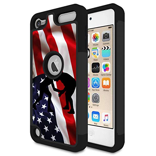 (iPod Touch 6 Case,Touch 5 Case,Rossy Heavy Duty Hybrid TPU Plastic Dual Layer Armor Defender Protection Case Cover for Apple iPod Touch 5/6th,American Flag Wrestling)