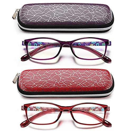 Colorful Reading Glasses Women Purple -Blue Light Blocking Flower Light Reader ()