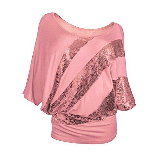 Camisetas Mujer Verano Vestir - BienBien Camiseta Manga Corta Superior de Dolman Casual Blusa Talla Grande Pink