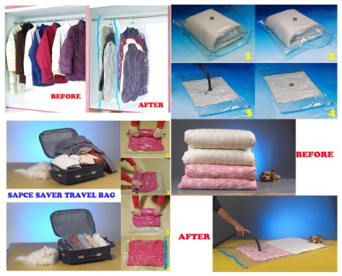 40 PCS SET SPACE SAVER SAVING VACUUM SEAL STORAGE BAGS Medium, Large, XL to Jumbo Combo + Travel Bags + HANGING BAGS (Layer Bi Jacket)