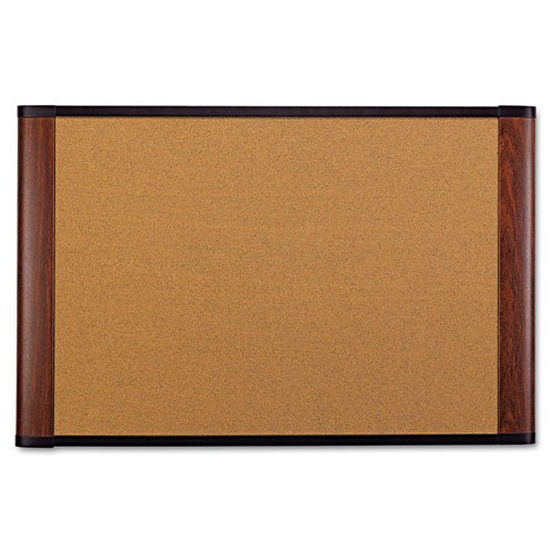 - 3M Wide-Screen Style Bulletin Board - 48quot; Height x 72quot; Width - Mahogany Cork Surface - Mahogany Wood Frame