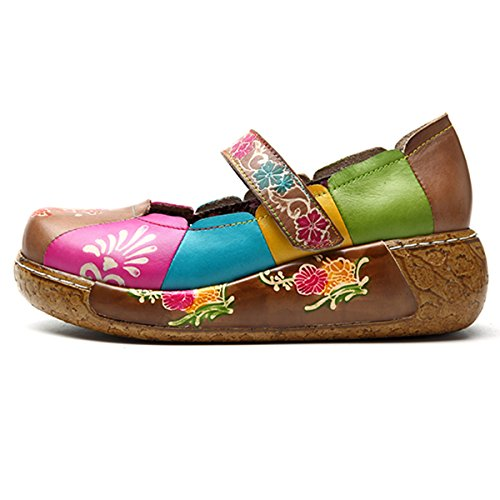 Socofy Women Platform Sandals, Summer Women's Colorful Flower Shoes Wedge Sandals Vintage Slip-on Leather Shoes Dancing Ballet Casual Loafers Flat Shoes Oxfords Shoes Size Coffee