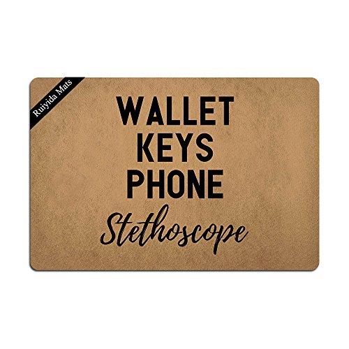 - Ruiyida Wallet Keys Phone Stethoscope Entrance Floor Mat Funny Doormat Door Mat Decorative Indoor Doormat Non-Woven 23.6 by 15.7 Inch Machine Washable Fabric Top