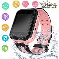 Waterproof Kids Smart Watch GPS LBS Tracker - Child Watch Phone Digital Wrist Watch SOS Alarm Clock Camera Flashlight Phone Watch for Children Age 3-12 Boys Girls with iOS/Android (DXSS7-Pink)