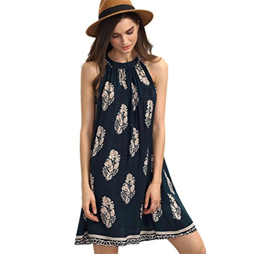 Bolayu Women Summer Feather Boho Above knee Mini Dresses (S)