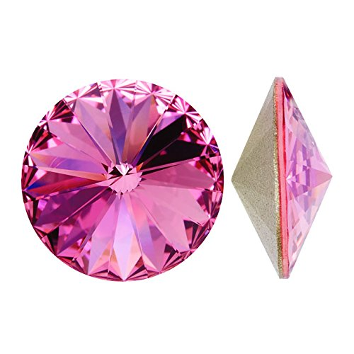 Austrian Crystal Stones - Swarovski Crystal, #1122 Rivoli Fancy Stones 14mm, 2 Pieces, Rose Sf