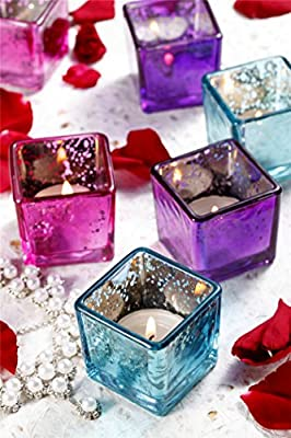 V-More® Romantic Small Square Cube Mercury Glass Candle Holder, Votive Candle Holder, Tealight Holder, 2-inch Tall, Set of 6, For Home Decor, Wedding, Party, Celebration