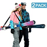 Volk Ski Strap and Pole Carrier 2 Pack - Skiing Accessory for Easy Transportation of Your Ski Gear - Feel Comfortable Walking to and from The Mountain - Adjustable Size, Great for Men, Women and Kids