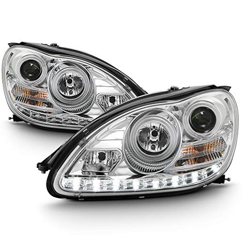 ACANII - For [HID Model Only] 2000-2006 Mercedes Benz W220 S-Class LED DRL Chrome Housing Projector Headlights Headlamps