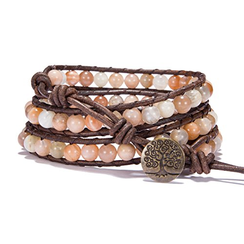 Bonnie Wrap Bracelet Leather Gemstones Beaded Tree of Life Button for Women (6mm Morocco Agate)