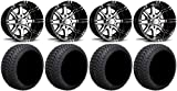 Bundle - 9 Items: Fairway Alloys Aggressor Wheels 12'' 215x50-12 Cruze Tires [for E-Z-GO & Club CarGolf Carts]