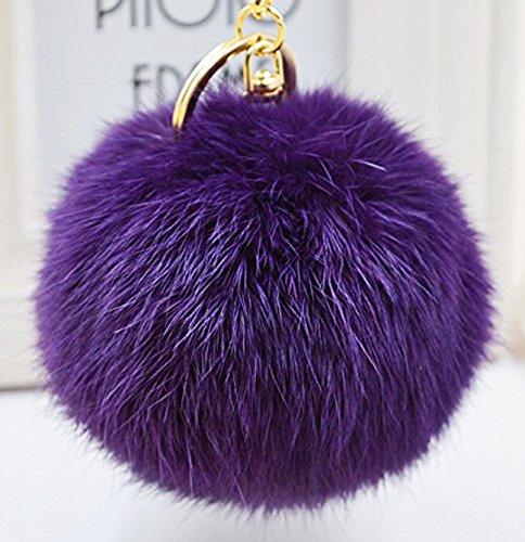 Minigianni Rabbit Fur Ball Pom Pom Keychain Gold Plated Keychain for Handbag Wallet Purse Car Key ()