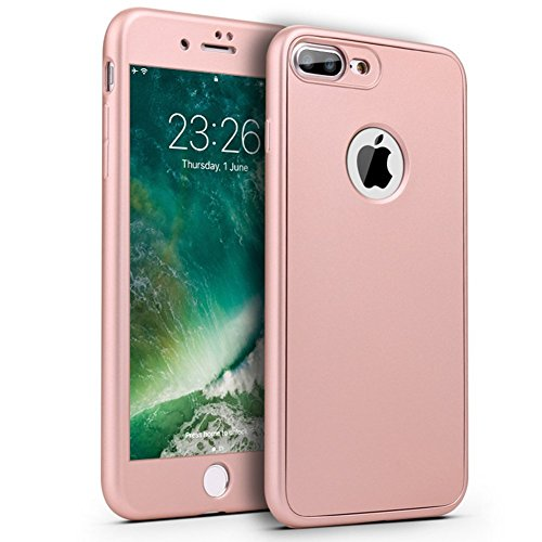 PHEZEN iPhone 7 Plus Case,iPhone 8 Plus Case, [360 Degree Full Body Coverage], Front Back Protecive Soft TPU Silicone Rubber Case + Tempered Glass Screen Protector for iPhone 7 Plus/8 Plus, Rose Gold