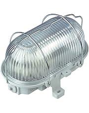 REV Owalna lampa – Made in Germany ǀ Owalna armatura z tworzywa sztucznego ze szkłem strukturalnym i metalowym koszem ochronnym ǀ Lampa do pomieszczeń wilgotnych IP44 ǀ 100 W E27 LED ǀ Kolor: szary