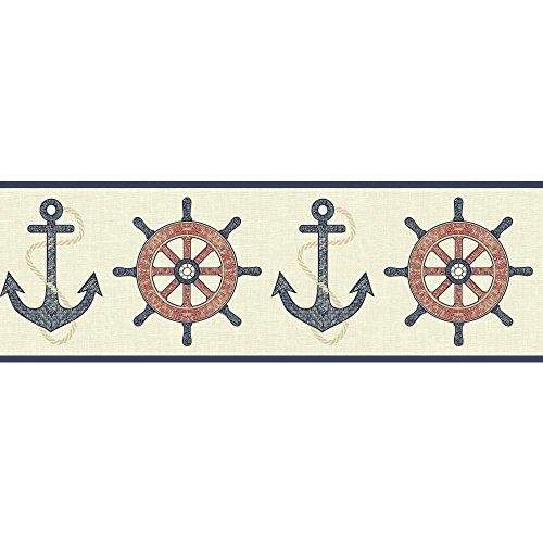 York Wallcoverings Nautical Living Nautical Spot Border, Cream/Beige/Navy Blue/Red