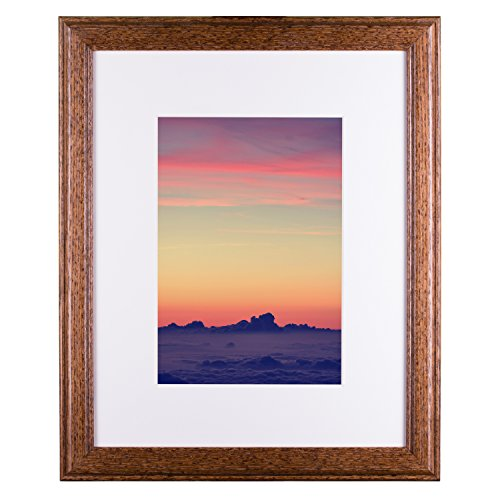Craig Frames Wiltshire 236 Simple Hardwood Picture Frame with Single White, Displays a 10 x 13 Inch Print with the Mat or 14 x 18 Inch without the Mat, Brown -