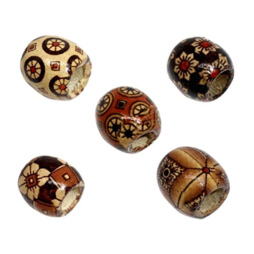 100pcs Mixed Painted Drum Barrel Wood Beads Spacer Beads for DIY Bracelet Necklace Jewelry Making (Big Hole) ()