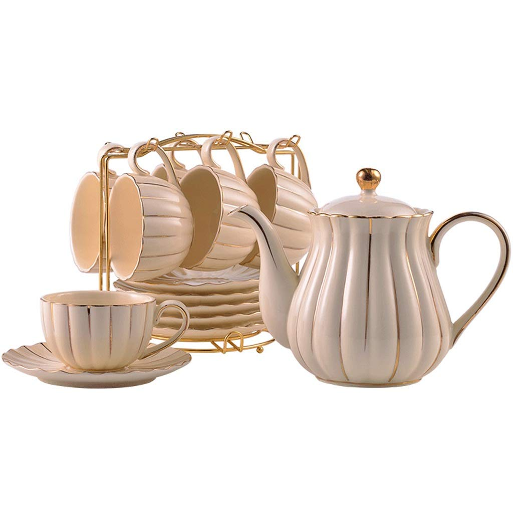 CSQ Coffee Cup Couple Teapot, A Whole Set Ceramic Multifunctional Teapot Office Reception Room Tea Set Capacity: 1050ml Afternoon Tea (Color : Light Yellow)
