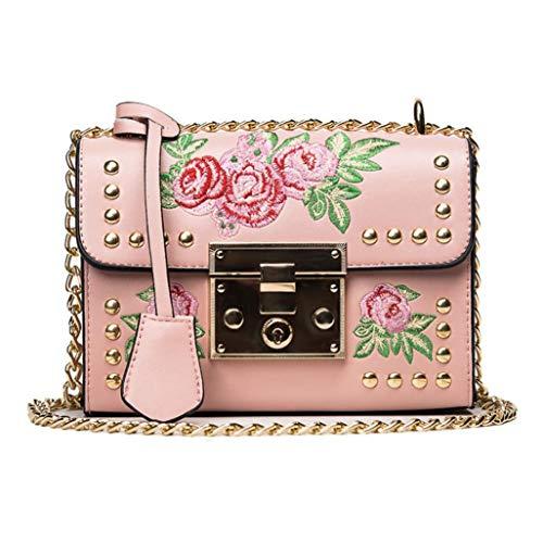 Kanpola Women Messenger Bags Embroidery Rose Crossbody Shoulder Bags Chain Body Bags Black Pink