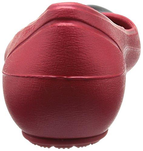 Crocs Cap Toe Flat - Zuecos de material sintético mujer Rojo Oscuro / Negro
