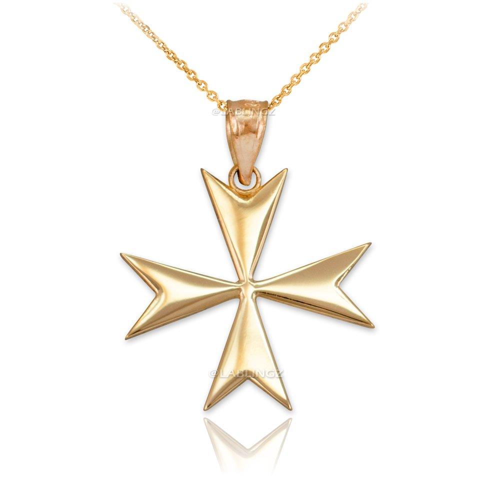 14K Yellow Gold Polished Maltese Cross Pendant Necklace (20)