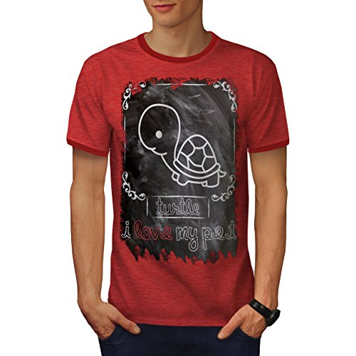 (wellcoda Turtle Pet Cute Animal Mens Ringer T-Shirt, Marine Graphic Print TeeHeather Red/Red)