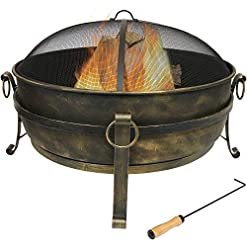 Firepits Sunnydaze Cauldron Outdoor Fire Pit – 34 Inch Large Bonfire Wood Burning Patio & Backyard Firepit for Outside with Round… firepits