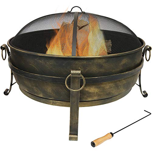 Sunnydaze Cauldron Outdoor Fire Pit - 34 Inch Large Bonfire Wood Burning Patio & Backyard Firepit for Outside with Round Spark Screen, Fireplace Poker, and Metal Grate (Best Backyard Fire Pit)