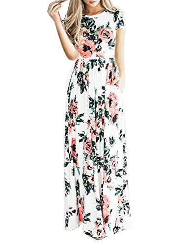 Celltronic Women's Casual Floral Print Pocket Maxi Long Dress