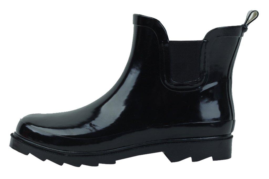 Women's Short Ankle Rubber Rain Boots Multiple Styles Available B00ZSNTS1G 8 B(M) US|Black