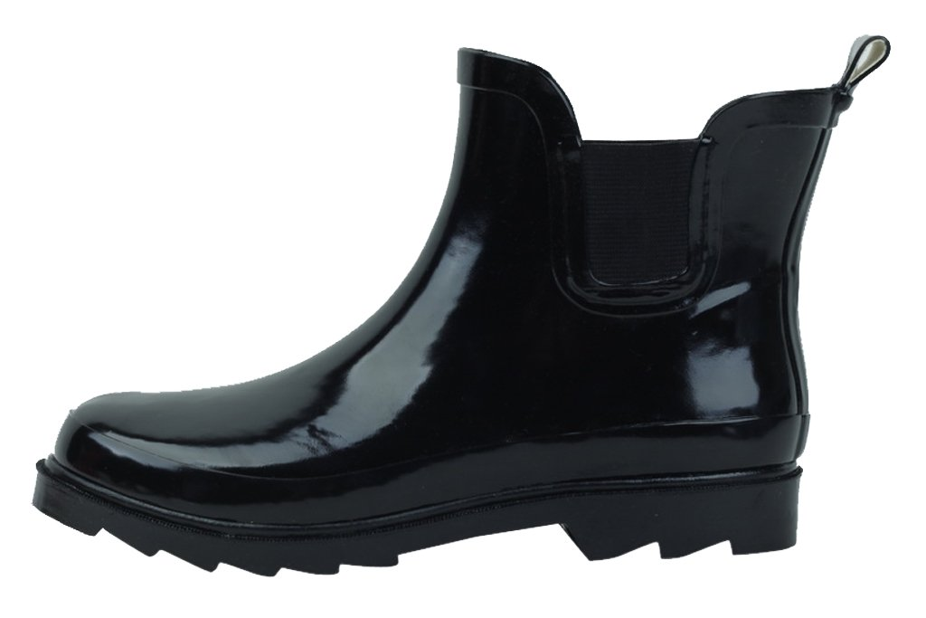 Sunville Womens Short Ankle Rubber Rain Boots, Black 38756-7B(M) US