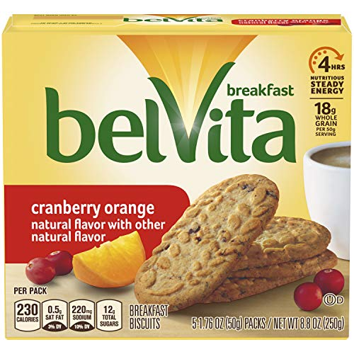 belVita Cranberry Orange Breakfast Biscuits, 5 Count Box, 8.8 Ounce