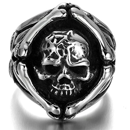 Stainless Steel Ring for Men, Dead Head Ring Gothic Black Band Silver Band 2428MM Size 13 - Outlet Bass Mall