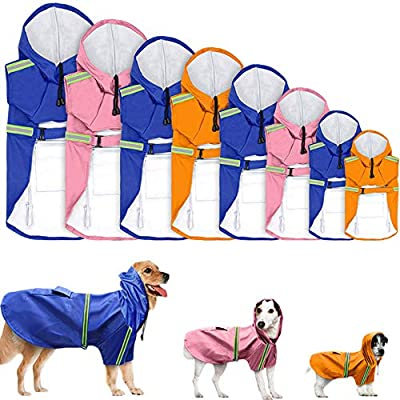 Hpapadks Waterproof Large Pet Dog Clothes Spring and Summer New Dog Clothes Big Dog Waterproof Raincoat Pet Reflective Dog Raincoat by Hpapadks-1
