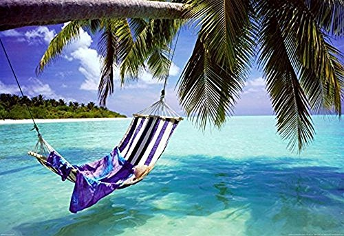 Buyartforless Tropical Beach - Hammock with Towel and Hat 36x24 Coastal Art Print Poster Romantic Beach Ocean Tropics (Retreat Tropical)