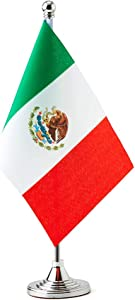 Mexico Small Table Flags Decor Mexican Mini Desk Flag on Stand Base Decoration (Mexico Flag)