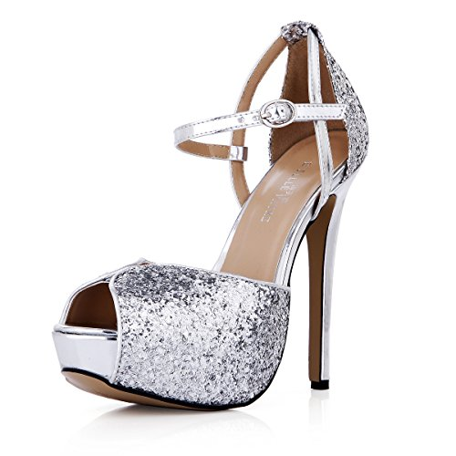 Click shoes fall new nice dinner fish tip women shoes silver high-heel shoes Silver TepE0e