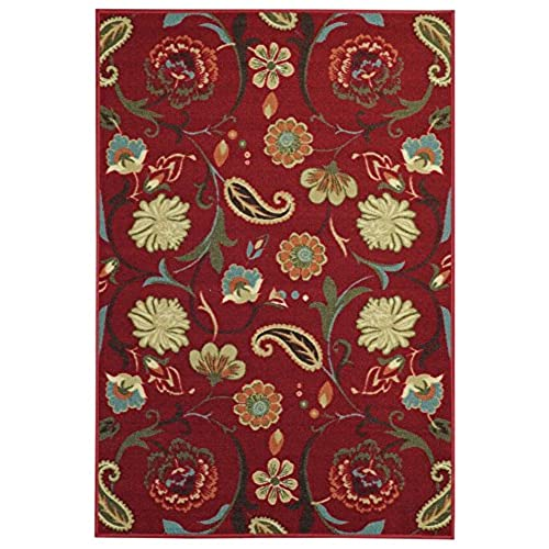Anti Bacterial Rubber Back AREA RUGS Non Skid/Slip 10x13 Floor Rug   Red  Multicolor Floral Garden Indoor/Outdoor Thin Low Profile Living Room  Kitchen ...