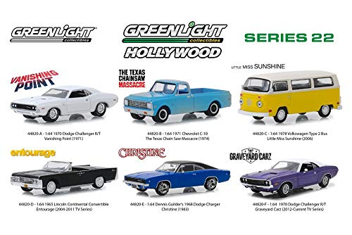 Greenlight Hollywood Series 22 Diecast Car Set - Box of 6 Assorted 1/64 Scale Diecast Model Cars