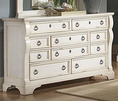 Heirloom Antique White Triple Dresser (Distressed Media Chest)